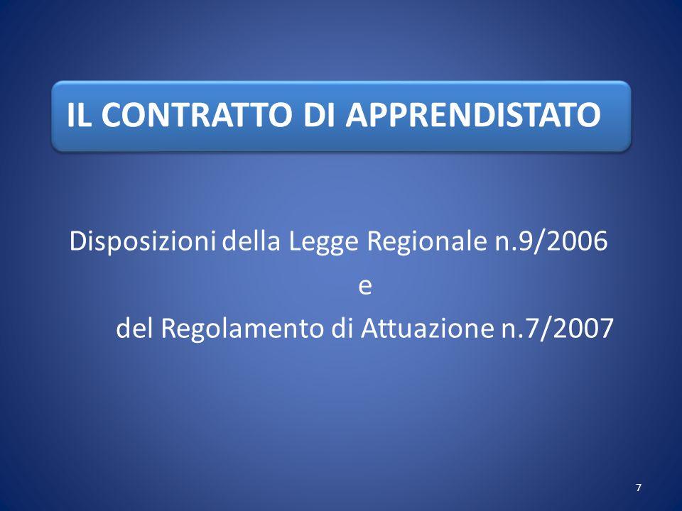 IL CONTRATTO DI APPRENDISTATO Disposizioni della Legge Regionale n.9/2006 e del Regolamento di Attuazione n.7/2007 7