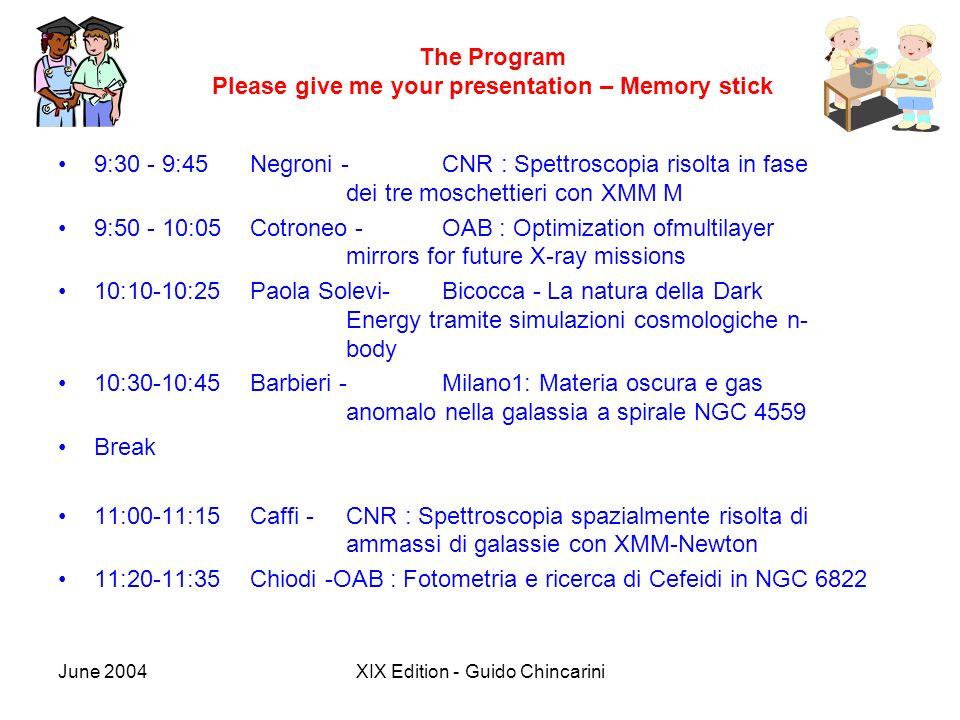 June 2004XIX Edition - Guido Chincarini The Program Please give me your presentation – Memory stick 9:30 - 9:45 Negroni - CNR : Spettroscopia risolta