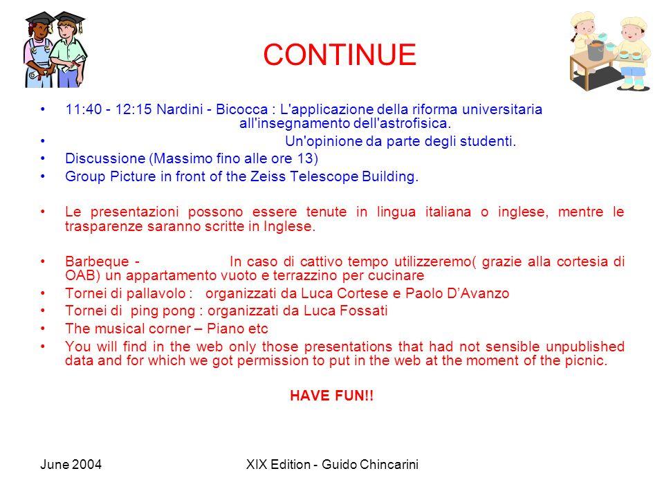 June 2004XIX Edition - Guido Chincarini CONTINUE 11:40 - 12:15 Nardini - Bicocca : L'applicazione della riforma universitaria all'insegnamento dell'as