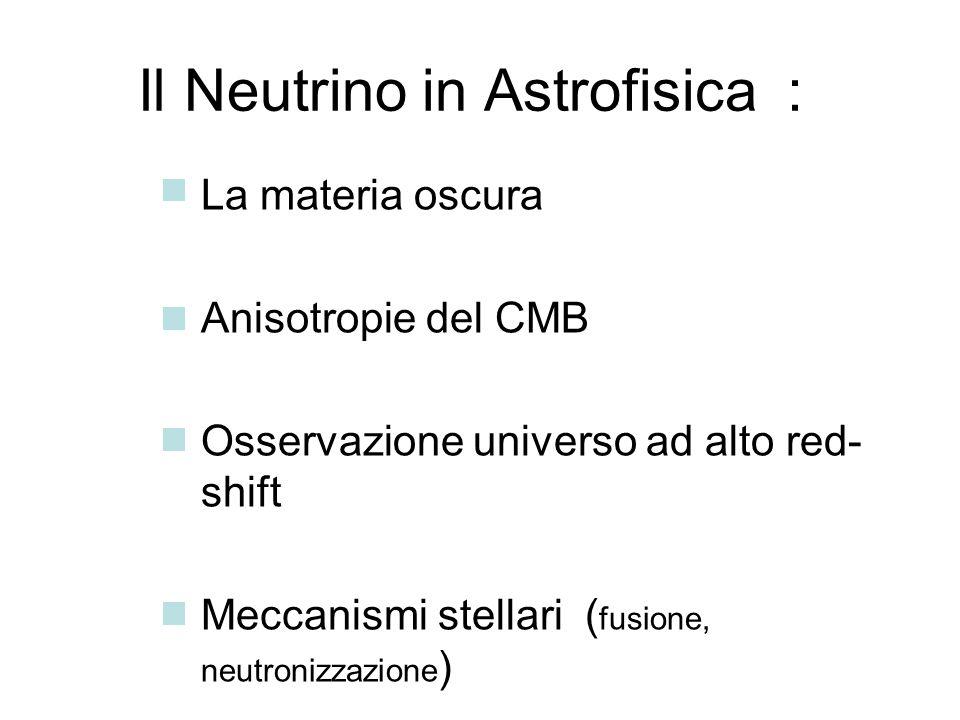 Il Neutrino in Astrofisica : La materia oscura Anisotropie del CMB Osservazione universo ad alto red- shift Meccanismi stellari ( fusione, neutronizza