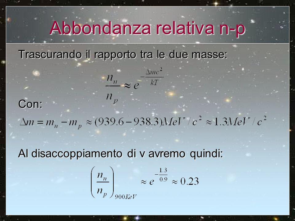 Abbondanza relativa n-p Trascurando il rapporto tra le due masse: Con: Al disaccoppiamento di ν avremo quindi: