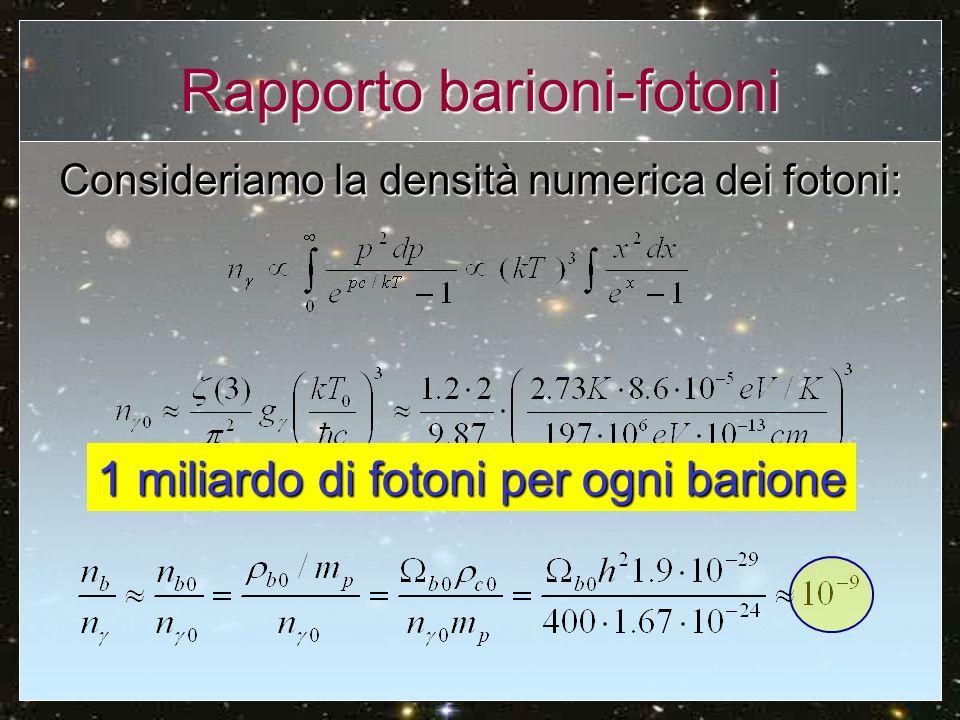 Creazione-distruzione deuterio Man mano che scende T sempre meno fotoni sono in grado di dissociare il deuterio Equilibrio: densità fotoni attivi = densità barioni