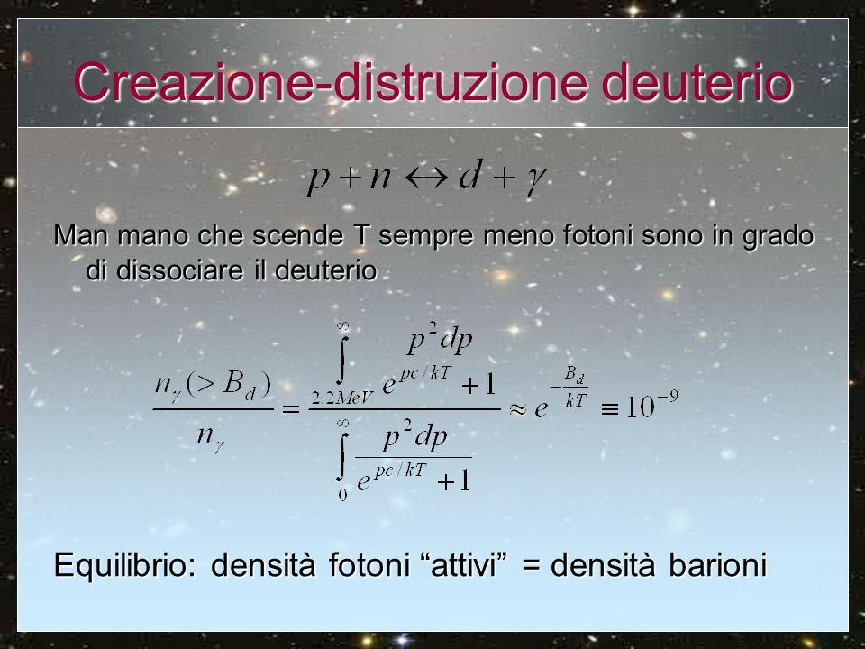 Creazione-distruzione deuterio Man mano che scende T sempre meno fotoni sono in grado di dissociare il deuterio Equilibrio: densità fotoni attivi = de