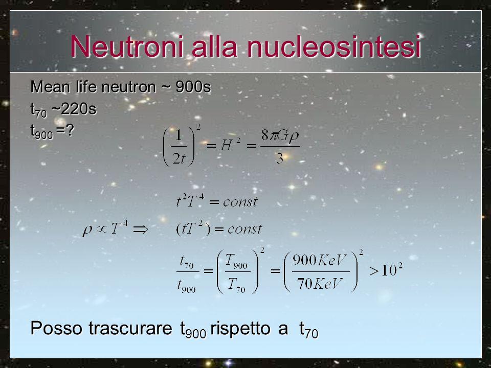 Neutroni alla nucleosintesi I neutroni alla nucleosintesi costituiscono il 12% dei barioni.