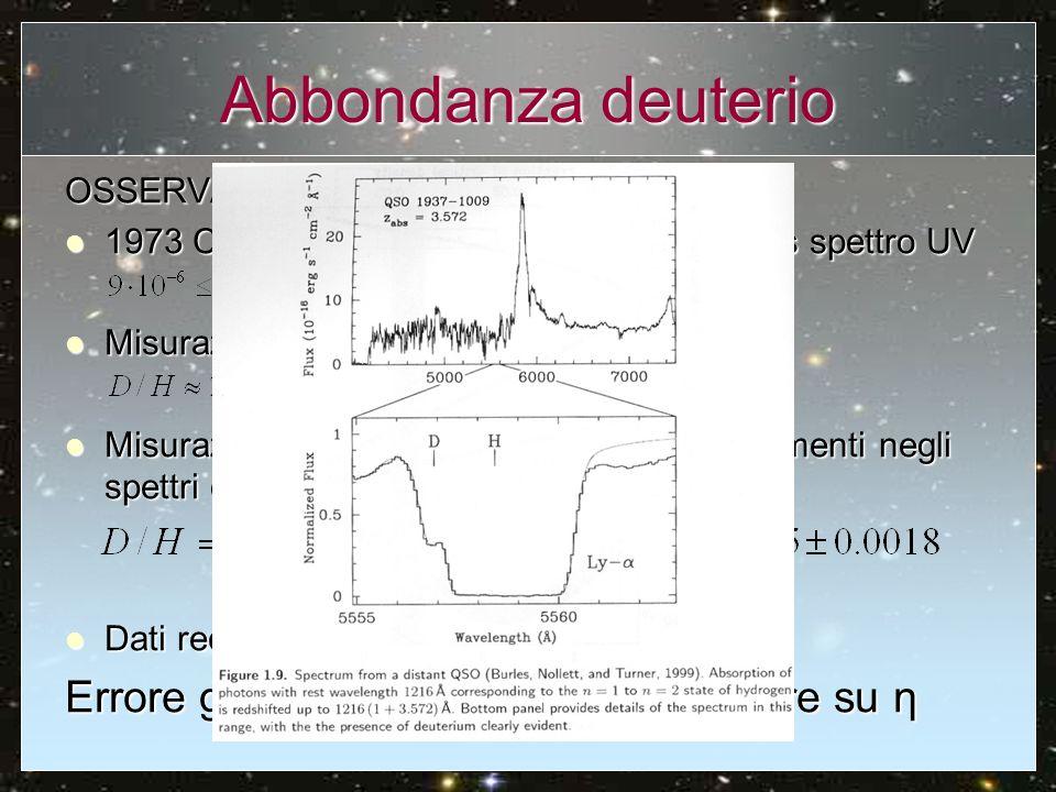 Abbondanza deuterio OSSERVAZIONI: 1973 COPERNICUS Lyman absorption lines spettro UV 1973 COPERNICUS Lyman absorption lines spettro UV Misurazioni nell