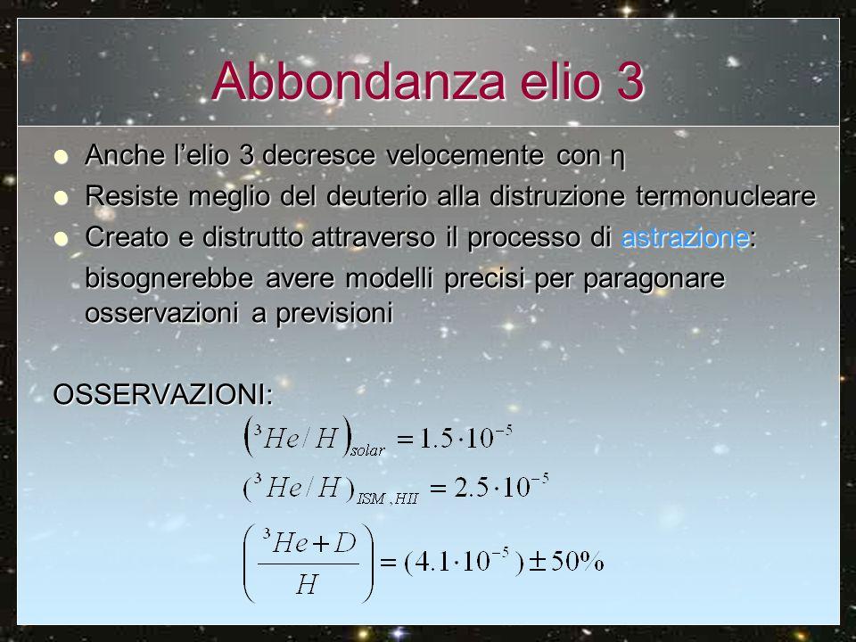 Abbondanza litio 7 CURVA TEORICA: minimo a OSSERVAZIONI: Prodotto sia per fusione elio3+elio4 sia dal berillio 7 Prodotto sia per fusione elio3+elio4 sia dal berillio 7 Osservazioni in stelle vecchie, abbastanza uniforme Osservazioni in stelle vecchie, abbastanza uniforme Si pensa che metà del litio primordiale sia distrutto per astrazione, mentre più di un terzo prodotto da raggi cosmici.