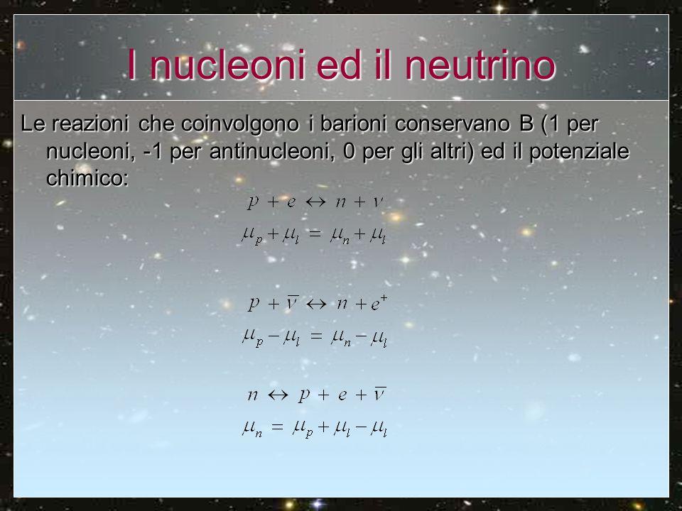 I nucleoni ed il neutrino Le reazioni che coinvolgono i barioni conservano B (1 per nucleoni, -1 per antinucleoni, 0 per gli altri) ed il potenziale c