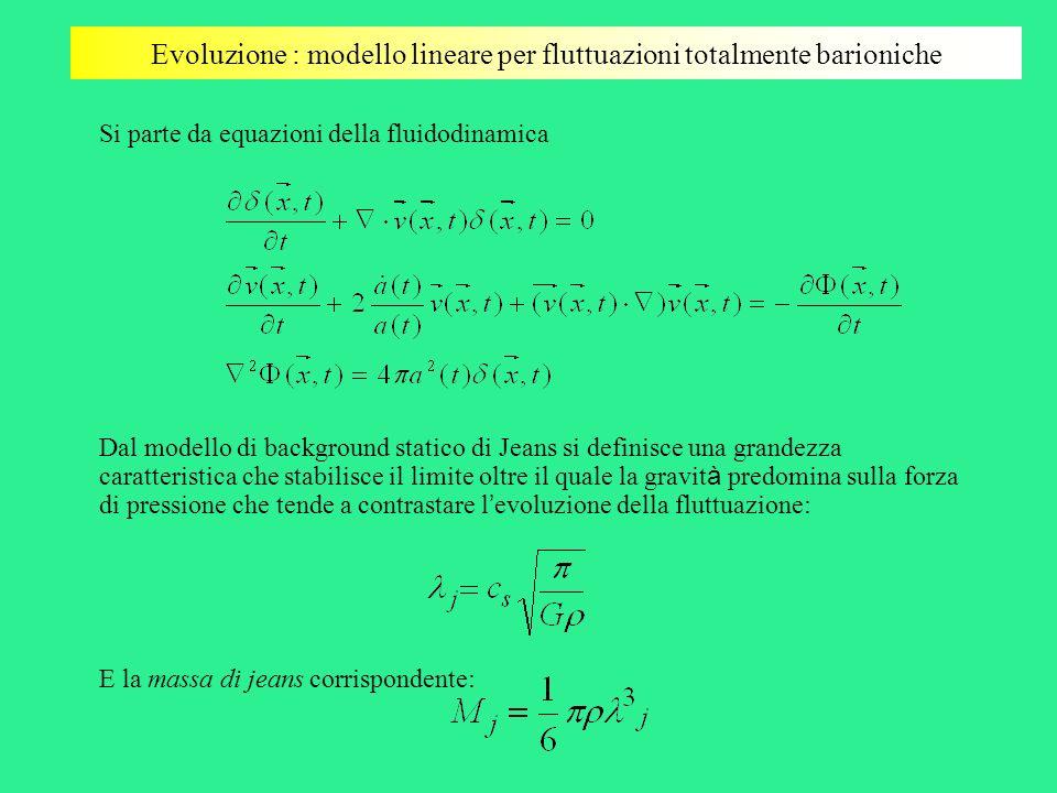 Evoluzione : modello lineare per fluttuazioni totalmente barioniche Si parte da equazioni della fluidodinamica Dal modello di background statico di Je