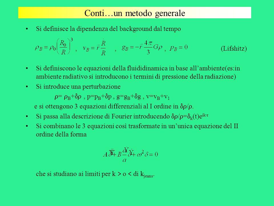 Conti…un metodo generale Si definisce la dipendenza del background dal tempo,,, (Lifshitz) Si definiscono le equazioni della fluididinamica in base al