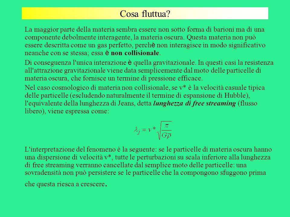 Cosa fluttua? La maggior parte della materia sembra essere non sotto forma di barioni ma di una componente debolmente interagente, la materia oscura.