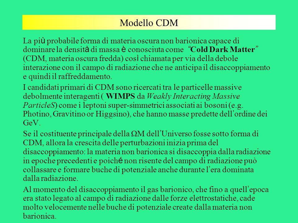 Modello CDM La pi ù probabile forma di materia oscura non barionica capace di dominare la densit à di massa è conosciuta come Cold Dark Matter (CDM, m