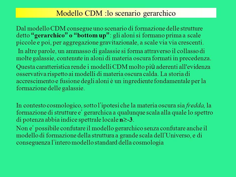 Modello CDM :lo scenario gerarchico Dal modello CDM consegue uno scenario di formazione delle strutture detto gerarchico o bottom up : gli aloni si fo