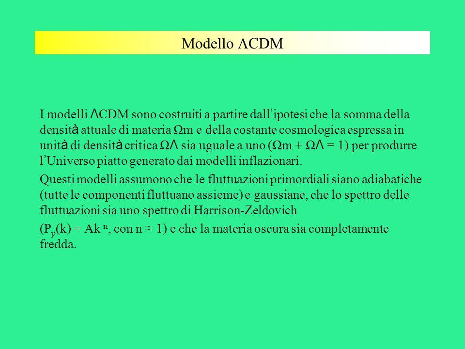 Modello CDM I modelli Λ CDM sono costruiti a partire dall ipotesi che la somma della densit à attuale di materia Ωm e della costante cosmologica espre
