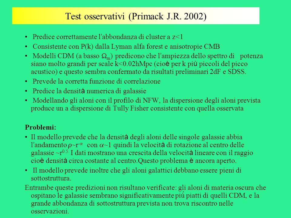 Test osservativi (Primack J.R. 2002) Predice correttamente l abbondanza di cluster a z<1 Consistente con P(k) dalla Lyman alfa forest e anisotropie CM