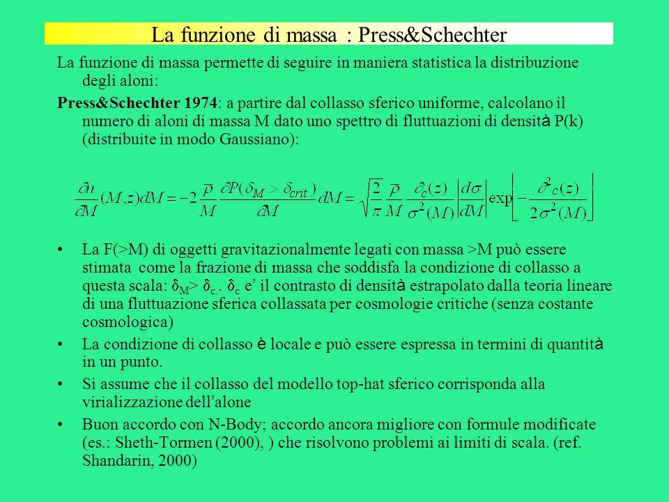 La funzione di massa : Press&Schechter La funzione di massa permette di seguire in maniera statistica la distribuzione degli aloni: Press&Schechter 19