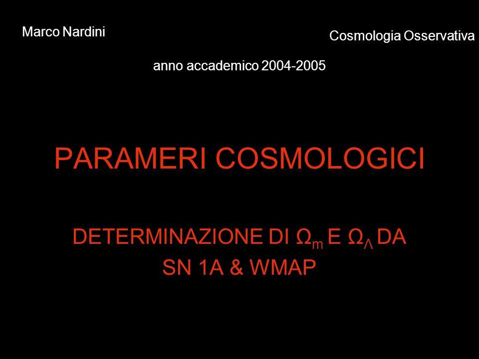 PARAMERI COSMOLOGICI DETERMINAZIONE DI Ω m E Ω Λ DA SN 1A & WMAP Marco Nardini Cosmologia Osservativa anno accademico 2004-2005