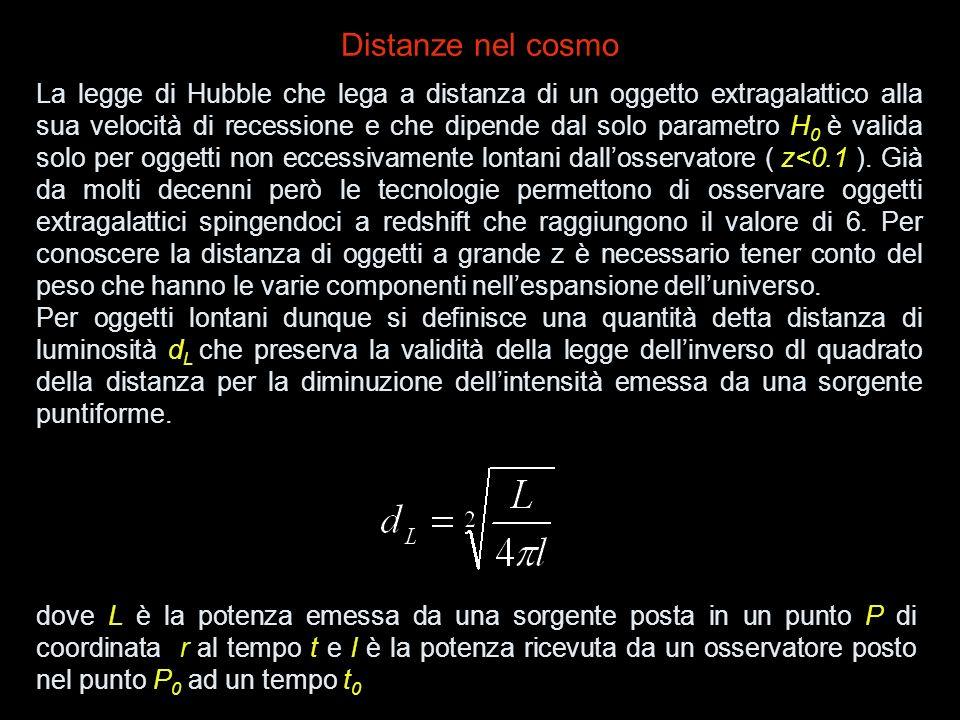 La legge di Hubble che lega a distanza di un oggetto extragalattico alla sua velocità di recessione e che dipende dal solo parametro H 0 è valida solo