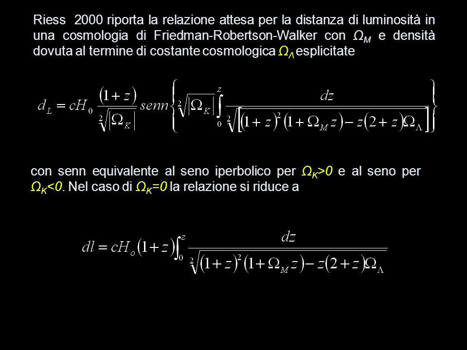Riess 2000 riporta la relazione attesa per la distanza di luminosità in una cosmologia di Friedman-Robertson-Walker con Ω M e densità dovuta al termin