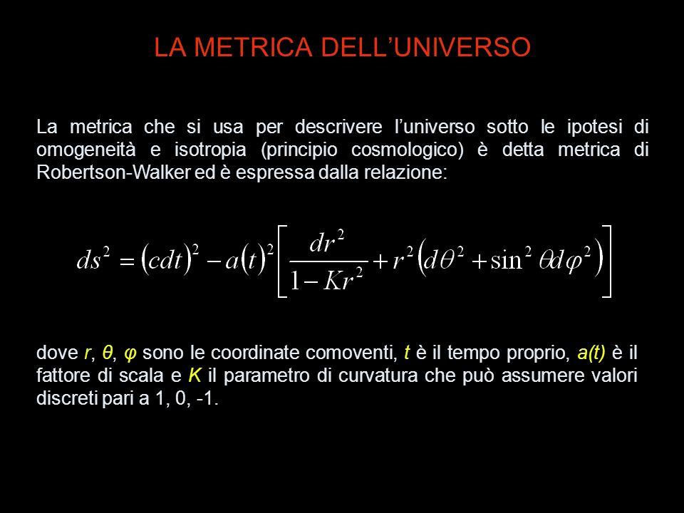 LA METRICA DELLUNIVERSO La metrica che si usa per descrivere luniverso sotto le ipotesi di omogeneità e isotropia (principio cosmologico) è detta metr