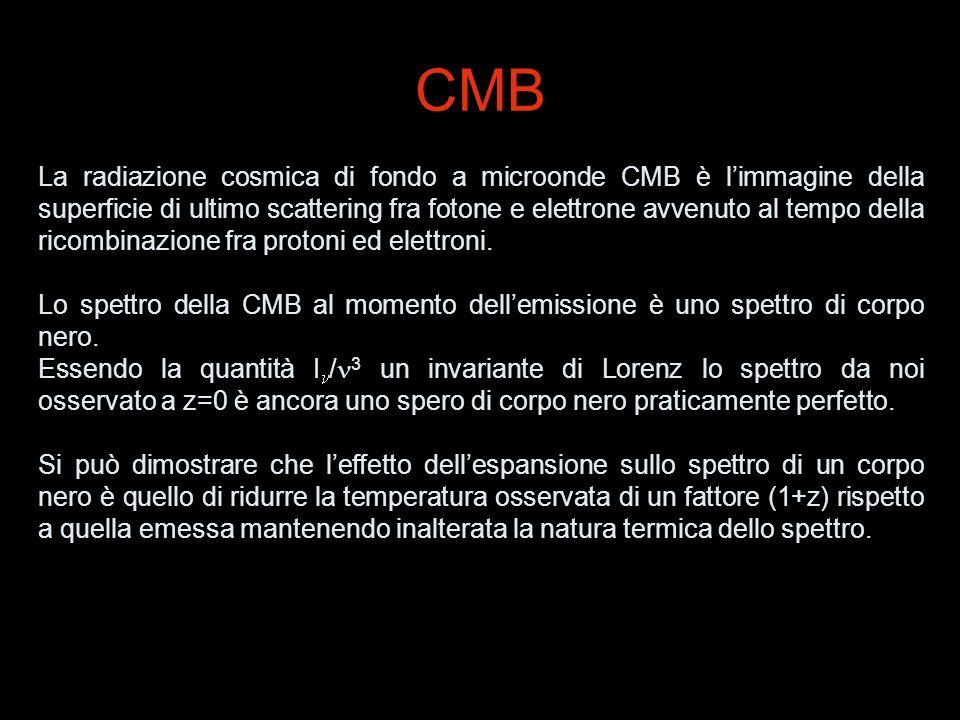 CMB La radiazione cosmica di fondo a microonde CMB è limmagine della superficie di ultimo scattering fra fotone e elettrone avvenuto al tempo della ri