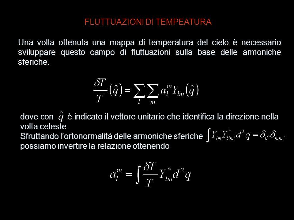 FLUTTUAZIONI DI TEMPEATURA Una volta ottenuta una mappa di temperatura del cielo è necessario sviluppare questo campo di fluttuazioni sulla base delle