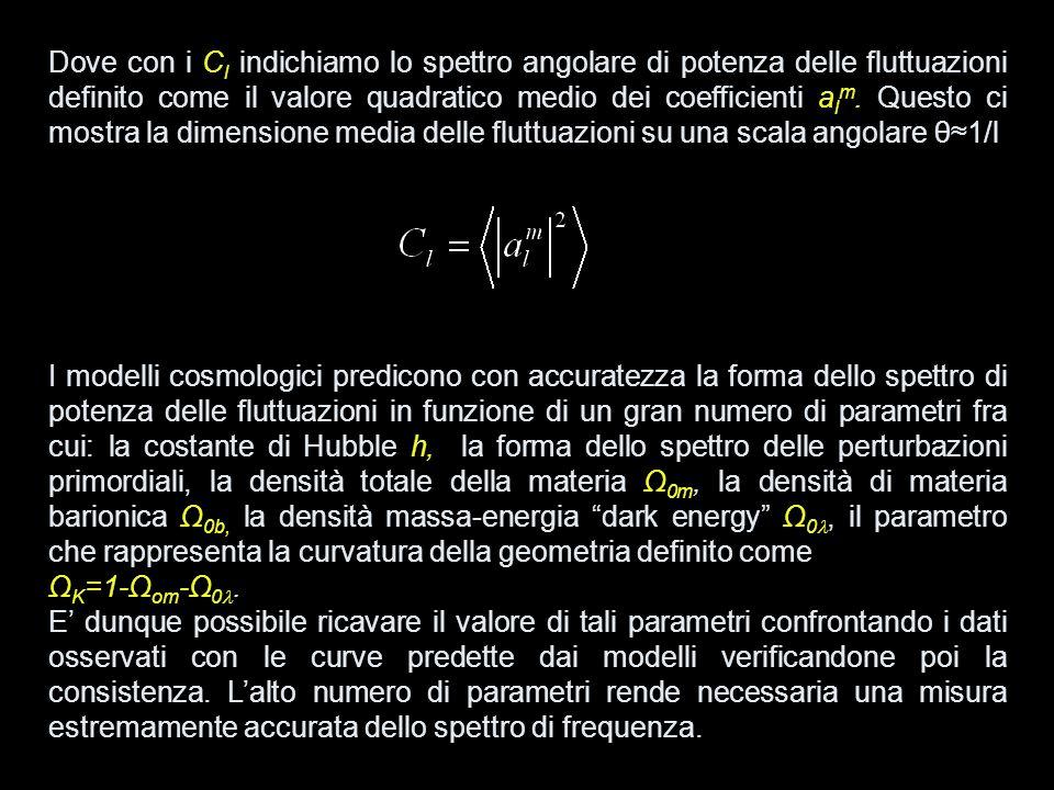Dove con i C l indichiamo lo spettro angolare di potenza delle fluttuazioni definito come il valore quadratico medio dei coefficienti a l m. Questo ci