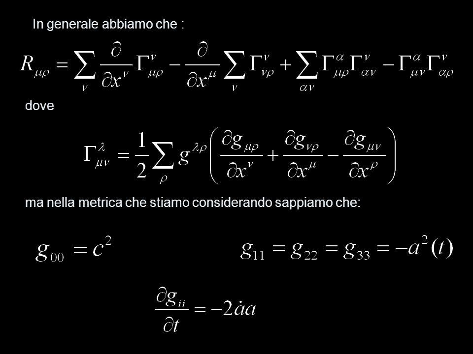 gli unici simboli di Christoffel diversi da zero sono: ritornando dunque ai termini del tensore di Ricci: