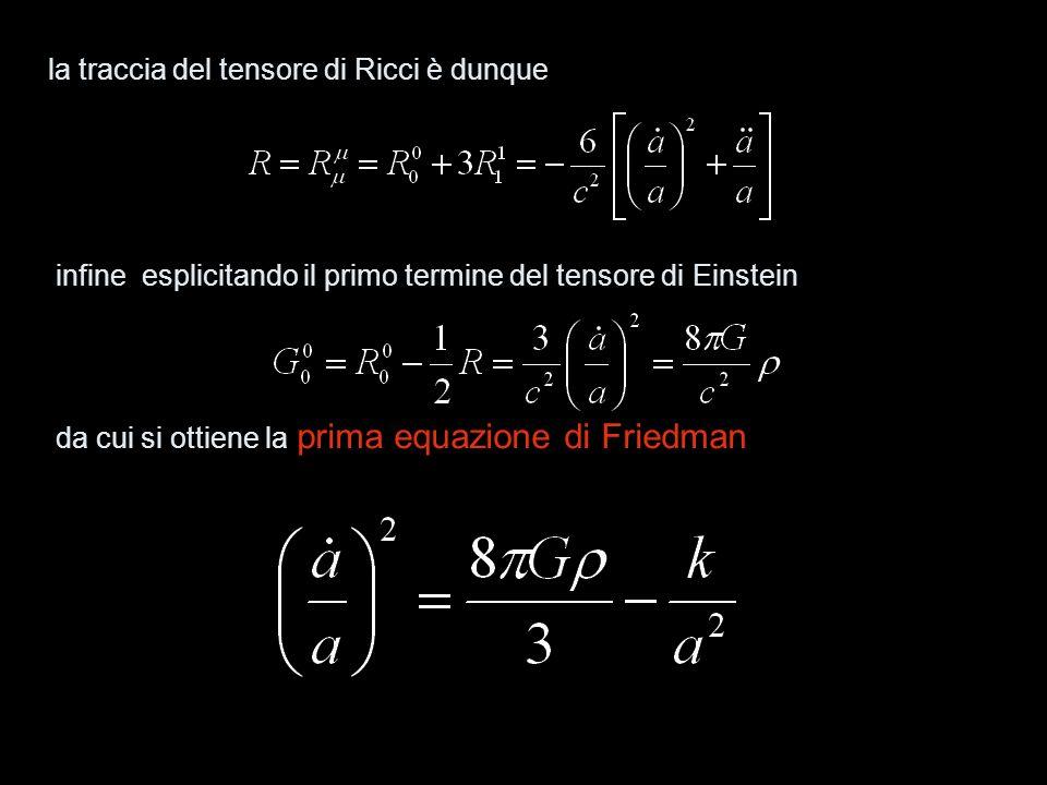sostituendo questa equazione nella formula si ottiene la seconda equazione di Friedman