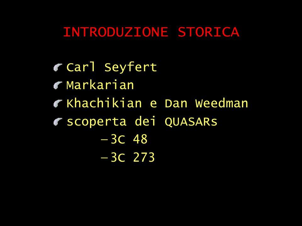 INTRODUZIONE STORICA Carl Seyfert Markarian Khachikian e Dan Weedman scoperta dei QUASARs 3C 48 3C 273