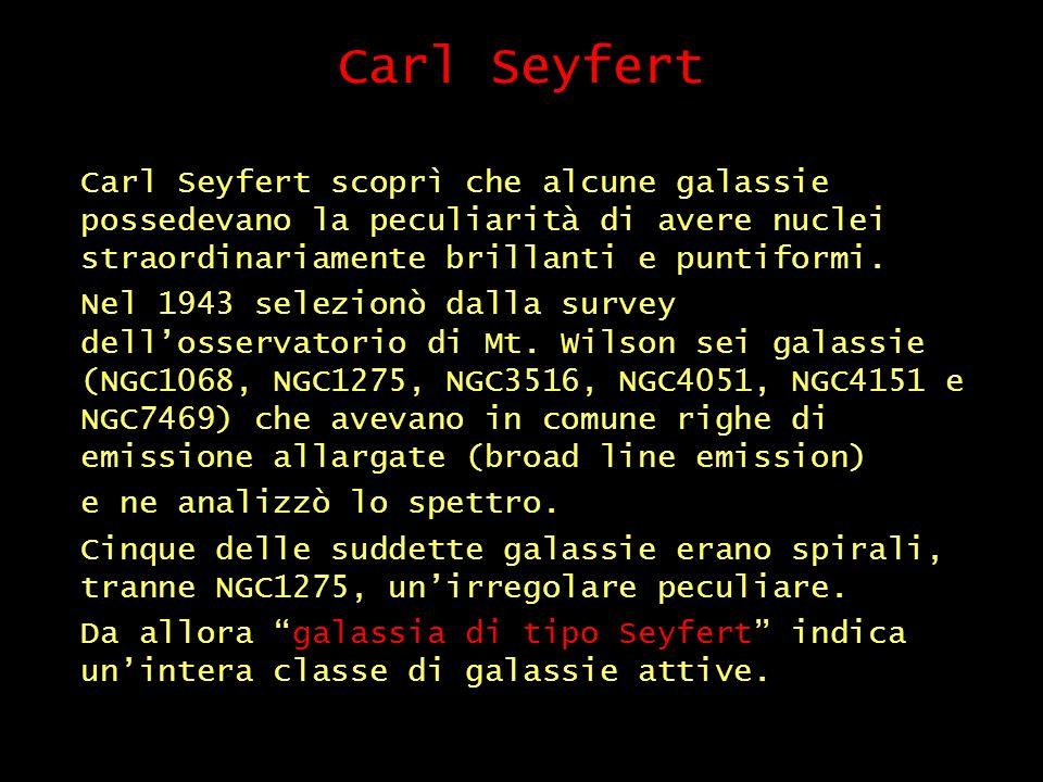 Carl Seyfert Carl Seyfert scoprì che alcune galassie possedevano la peculiarità di avere nuclei straordinariamente brillanti e puntiformi.