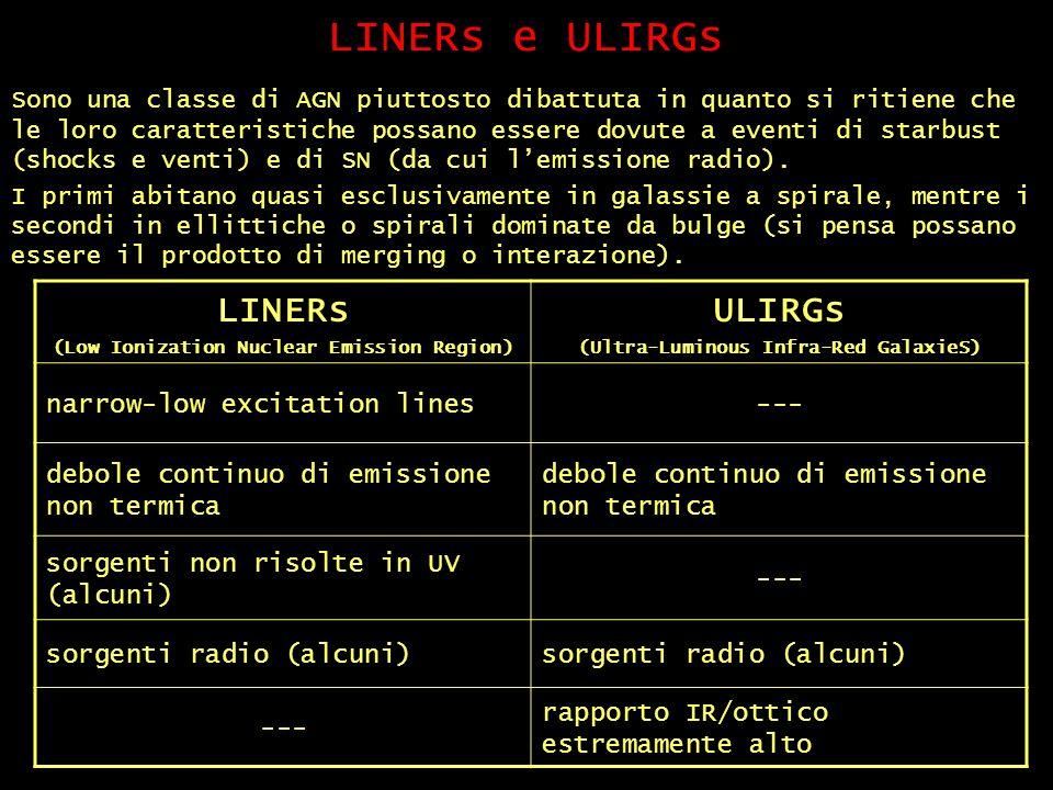 LINERs e ULIRGs Sono una classe di AGN piuttosto dibattuta in quanto si ritiene che le loro caratteristiche possano essere dovute a eventi di starbust (shocks e venti) e di SN (da cui lemissione radio).