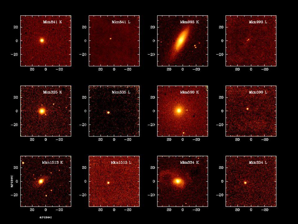 DIMENSIONI Da osservazioni dirette è possibile stimare i limiti superiori delle dimensioni dei nuclei attivi: struttura in ottico (NGC4151) struttura in radiovariabilità osservazioni da pallone: il continuo ottico proviene da una regione del diametro di ~7 pc solo in alcuni casi i radio core delle galassie attive sono risolti (da misure VLBI), in altri casi abbiamo limiti superiori in generale un sistema di dimensioni scala l non può avere variazioni in tempi minori di l/c variabilità delle righe: il continuo ottico proviene da una regione del diametro di ~0.1-1 pc fino a redshift dellordine ~0.5 le correzioni relativistiche sono trascurabili l= cz/H 0 osservazioni di variabilità su tempi scala t var forniscono un limite superiore sulle dimensioni della regione emettitrice l ct var NLR ~50 pc la più piccola struttura angolare risolta è pari a qualche milliarcsec, corrispondente ad una dimensione lineare di 1 pc alla distanza di 100 Mpc o ad un redshift ~0.03 il record di variabilità è un BL Lac: ~11 min l < 2·10 13 cm.