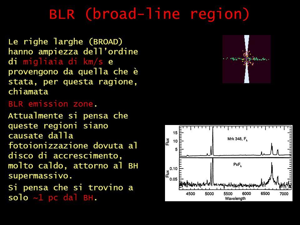 BLR (broad-line region) Le righe larghe (BROAD) hanno ampiezza dellordine di migliaia di km/s e provengono da quella che è stata, per questa ragione, chiamata BLR emission zone.