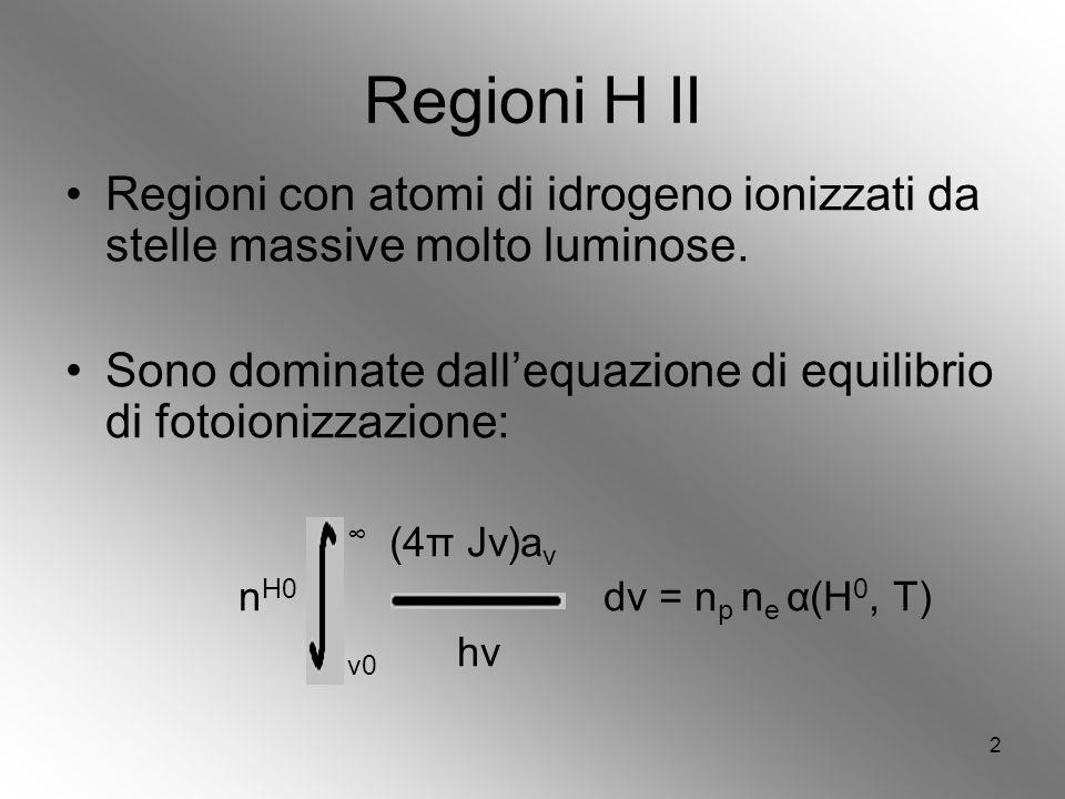 2 Regioni H II Regioni con atomi di idrogeno ionizzati da stelle massive molto luminose.