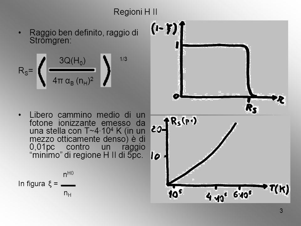 3 Regioni H II Raggio ben definito, raggio di Strömgren: 3Q(H 0 ) 1/3 R S = 4π α B (n H ) 2 Libero cammino medio di un fotone ionizzante emesso da una stella con T~410 4 K (in un mezzo otticamente denso) è di 0,01pc contro un raggio minimo di regione H II di 5pc.