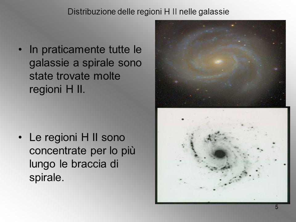 5 Distribuzione delle regioni H II nelle galassie In praticamente tutte le galassie a spirale sono state trovate molte regioni H II.