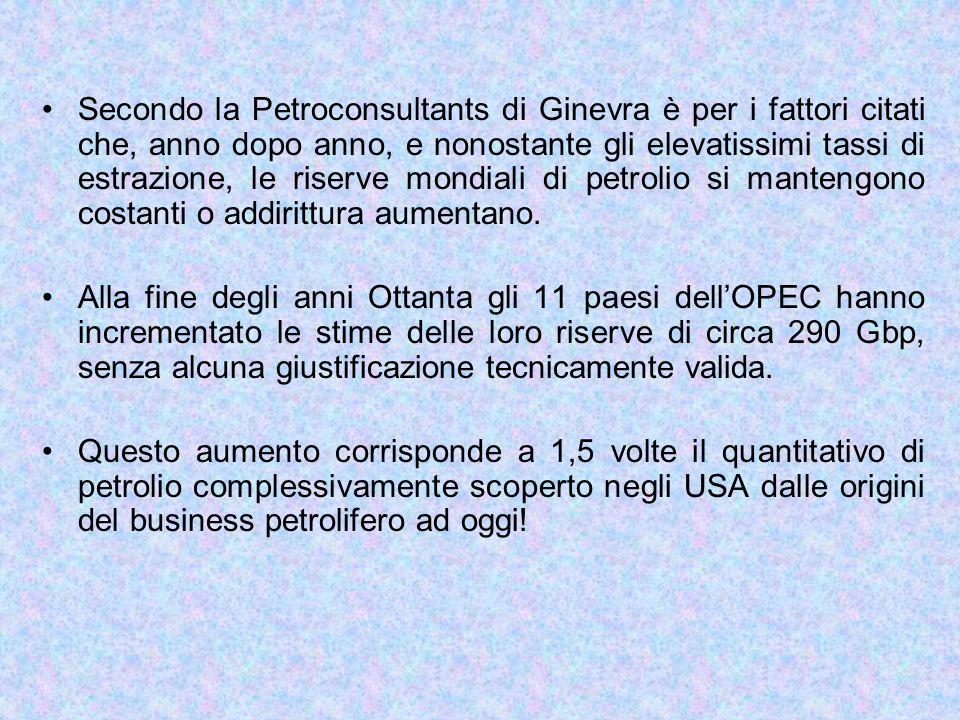 Secondo la Petroconsultants di Ginevra è per i fattori citati che, anno dopo anno, e nonostante gli elevatissimi tassi di estrazione, le riserve mondi