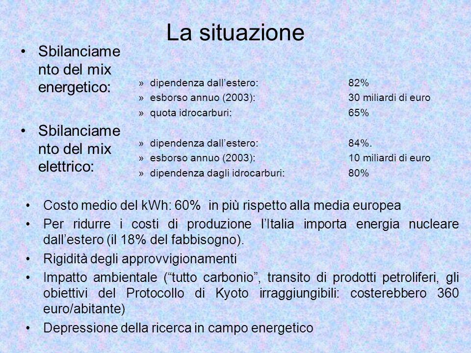 »dipendenza dallestero: 82% »esborso annuo (2003): 30 miliardi di euro »quota idrocarburi: 65% »dipendenza dallestero: 84%. »esborso annuo (2003): 10