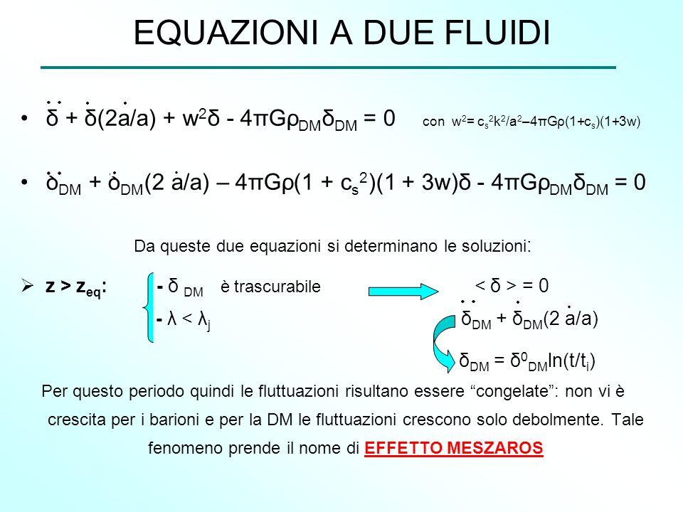 EQUAZIONI A DUE FLUIDI δ + δ(2a/a) + w 2 δ - 4πGρ DM δ DM = 0 con w 2 = c s 2 k 2 /a 2 –4πGρ(1+c s )(1+3w) δ DM + δ DM (2 a/a) – 4πGρ(1 + c s 2 )(1 +