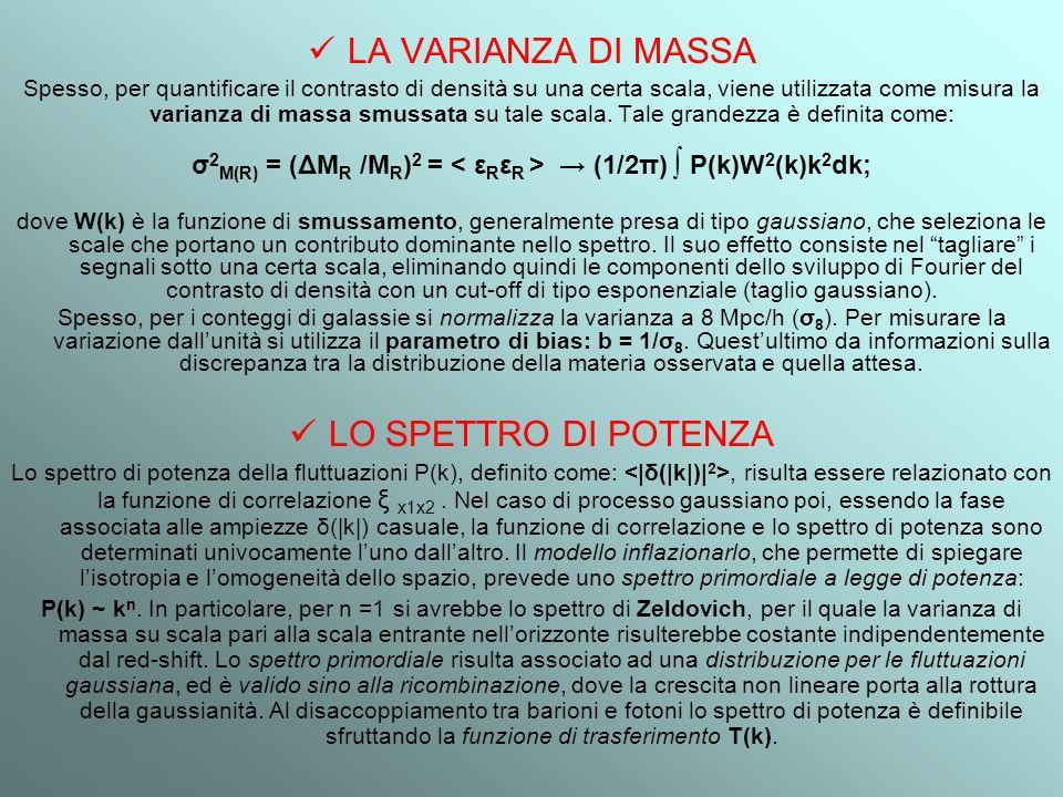 LA VARIANZA DI MASSA Spesso, per quantificare il contrasto di densità su una certa scala, viene utilizzata come misura la varianza di massa smussata s