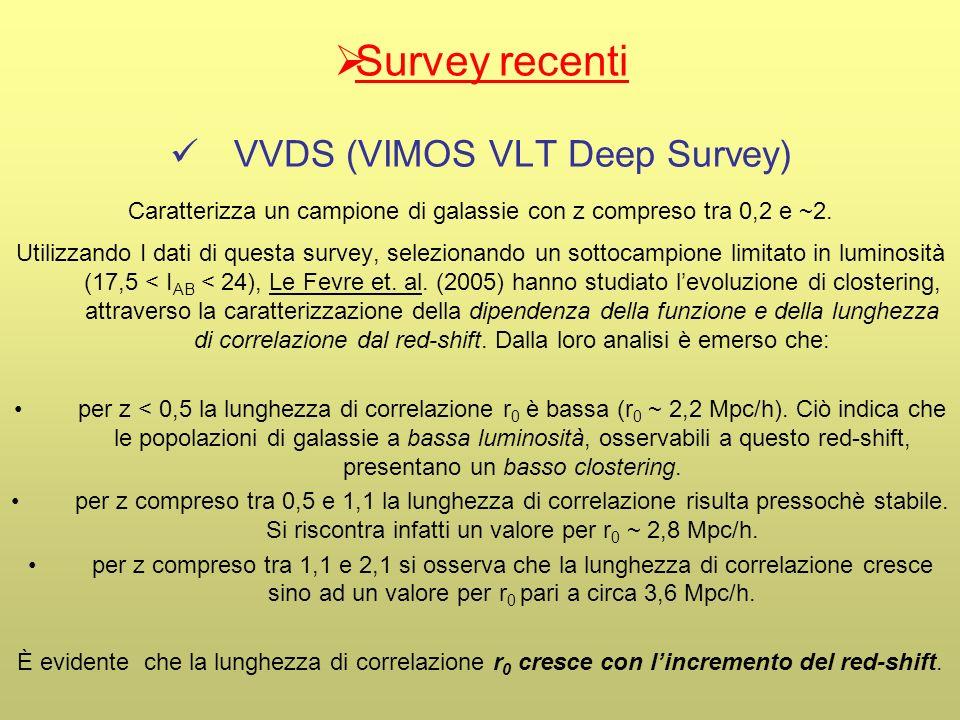 Survey recenti VVDS (VIMOS VLT Deep Survey) Caratterizza un campione di galassie con z compreso tra 0,2 e ~2. Utilizzando I dati di questa survey, sel