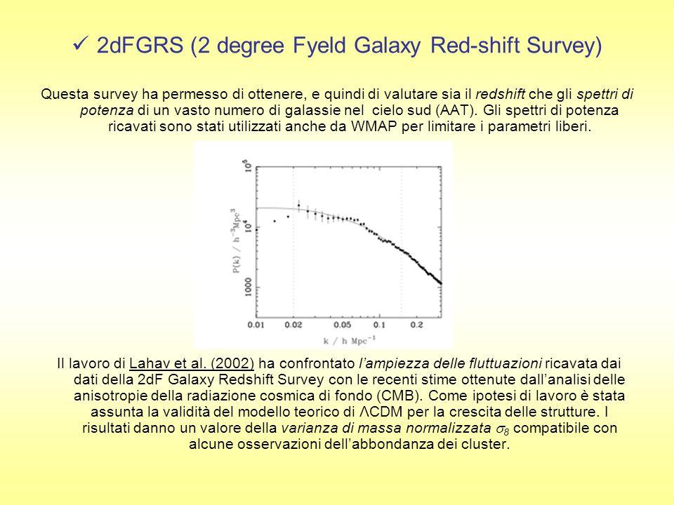 2dFGRS (2 degree Fyeld Galaxy Red-shift Survey) Questa survey ha permesso di ottenere, e quindi di valutare sia il redshift che gli spettri di potenza