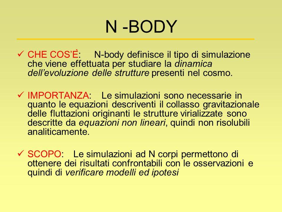 N -BODY CHE COSÈ: N-body definisce il tipo di simulazione che viene effettuata per studiare la dinamica dellevoluzione delle strutture presenti nel c