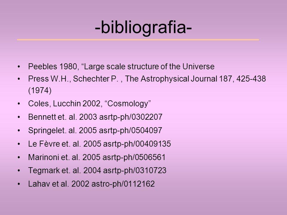 -bibliografia- Peebles 1980, Large scale structure of the Universe Press W.H., Schechter P., The Astrophysical Journal 187, 425-438 (1974) Coles, Lucc