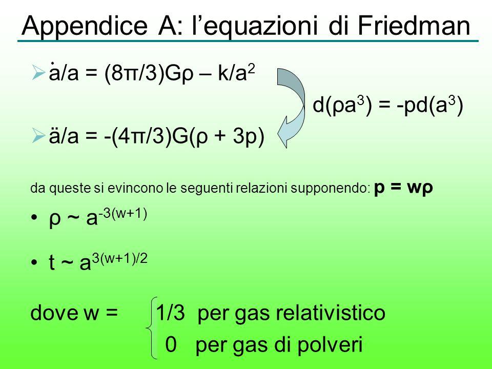 Appendice A: lequazioni di Friedman a/a = (8π/3)Gρ – k/a 2 d(ρa 3 ) = -pd(a 3 ) ä/a = -(4π/3)G(ρ + 3p) da queste si evincono le seguenti relazioni sup