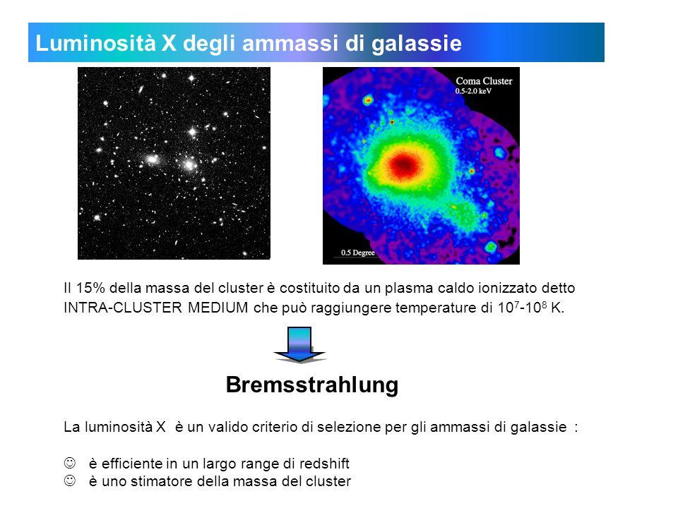 Luminosità X degli ammassi di galassie Il 15% della massa del cluster è costituito da un plasma caldo ionizzato detto INTRA-CLUSTER MEDIUM che può raggiungere temperature di 10 7 -10 8 K.
