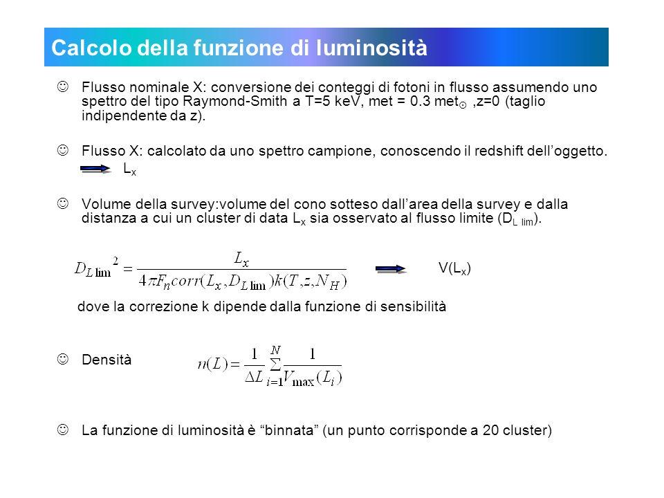 Calcolo della funzione di luminosità JFlusso nominale X: conversione dei conteggi di fotoni in flusso assumendo uno spettro del tipo Raymond-Smith a T=5 keV, met = 0.3 met,z=0 (taglio indipendente da z).