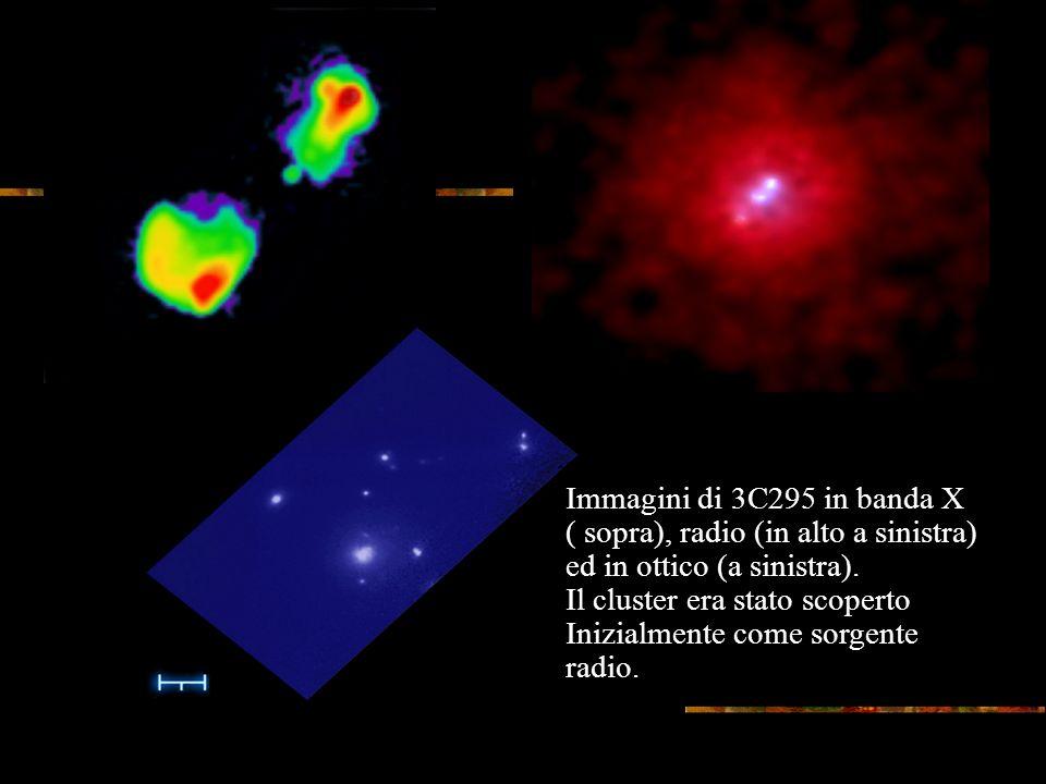 Immagini di 3C295 in banda X ( sopra), radio (in alto a sinistra) ed in ottico (a sinistra).