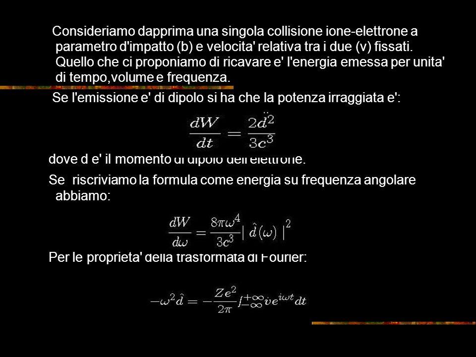 Consideriamo dapprima una singola collisione ione-elettrone a parametro d impatto (b) e velocita relativa tra i due (v) fissati.