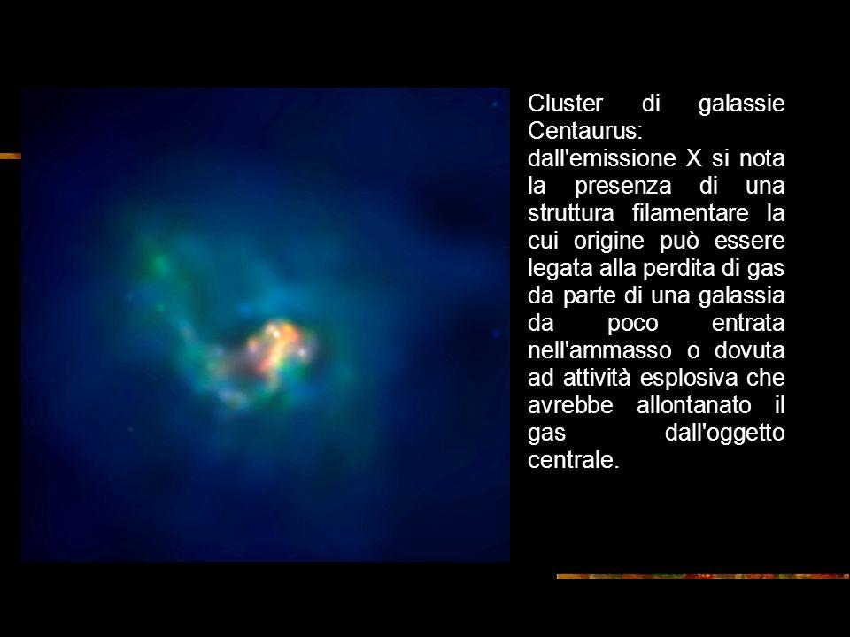 Cluster di galassie Centaurus: dall emissione X si nota la presenza di una struttura filamentare la cui origine può essere legata alla perdita di gas da parte di una galassia da poco entrata nell ammasso o dovuta ad attività esplosiva che avrebbe allontanato il gas dall oggetto centrale.